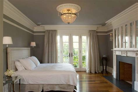 Crown molding shelf plans bedroom traditional with brick fireplace white crown molding gray wall