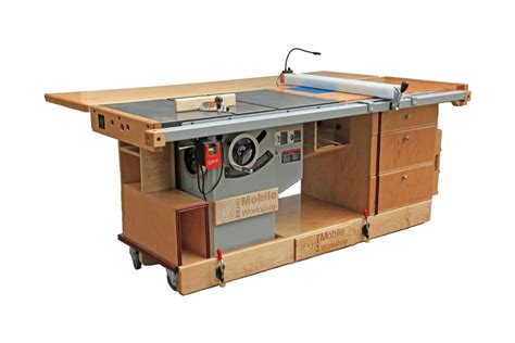 bench saw table ekho mobile workshop portable cabinet saw work bench