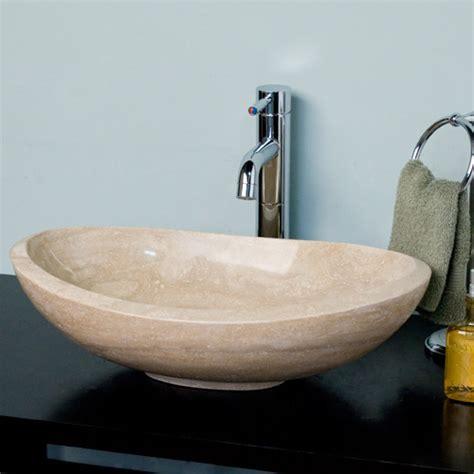 Vessel Sink by Curved Oval Polished Beige Travertine Platform Vessel Sink