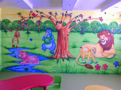 kids bedroom wall paintings play school wall painting 3d cartoon artist kamal solanki 91 88604914928588002091
