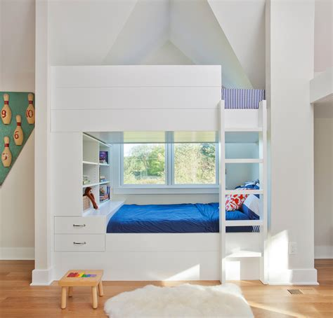 Built In Bunk Beds Plans Magnificent Miller Bedding In Bedroom Contemporary With Built Ins Around Bed Next To