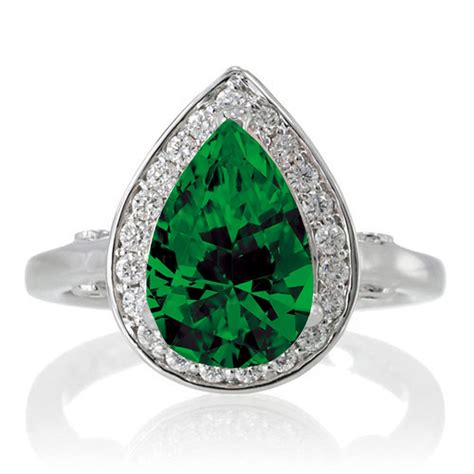 1 5 carat pear cut halo emerald engagement ring on 10k