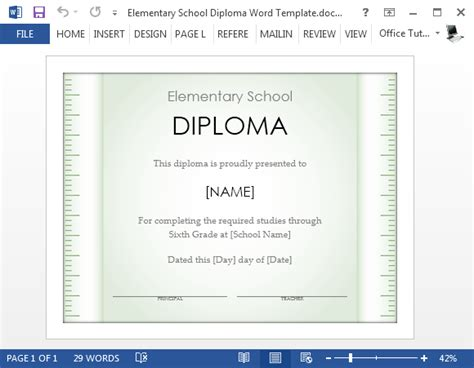 free school certificate templates for word free elementary school diploma template for word