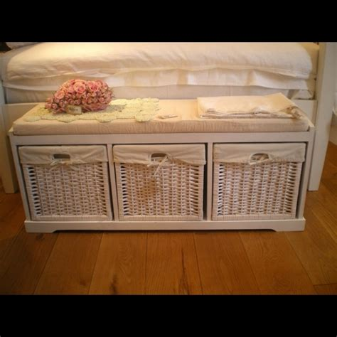 shabby chic white shoe storage bench with seat pad use for