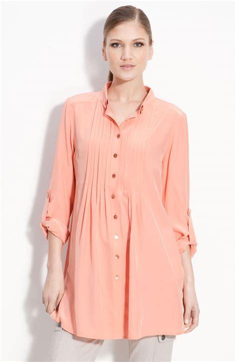 st yellow label silk tunic blouse in pink mandarin lyst