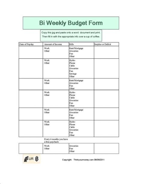 Bi Weekly Budget Template 9 Best Images Of Free Printable Bi Weekly Budget Template