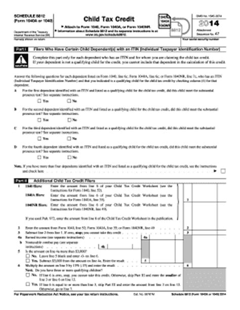 Form 8812 Worksheet by 2014 Form Irs 1040 Schedule 8812 Fill Printable