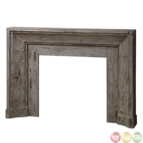 Solid Wood Fireplace Mantels khuri stonewashed solid wood rustic fireplace mantel 24800