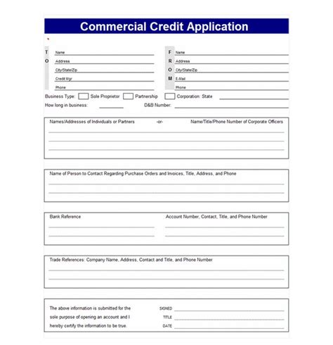 Commercial Credit Application Template Credit Application Template Credit Application Templates