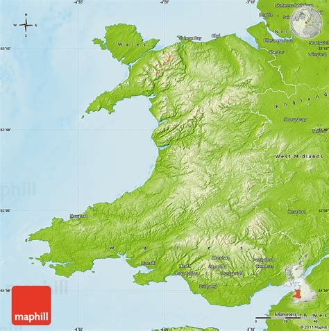 map of wales physical map of wales