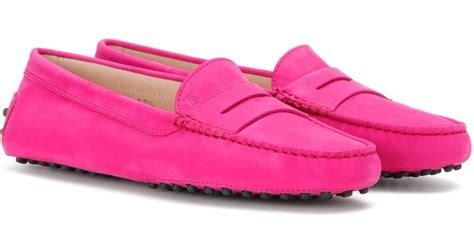 pink loafers tod s gommini suede loafers in pink lyst