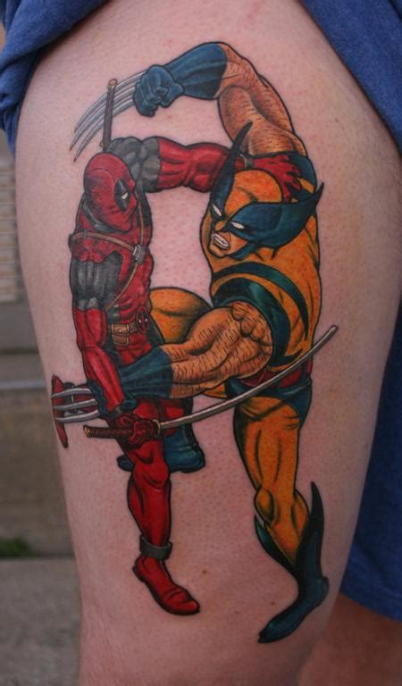 deadpool vs wolverine by larry brogan tattoos