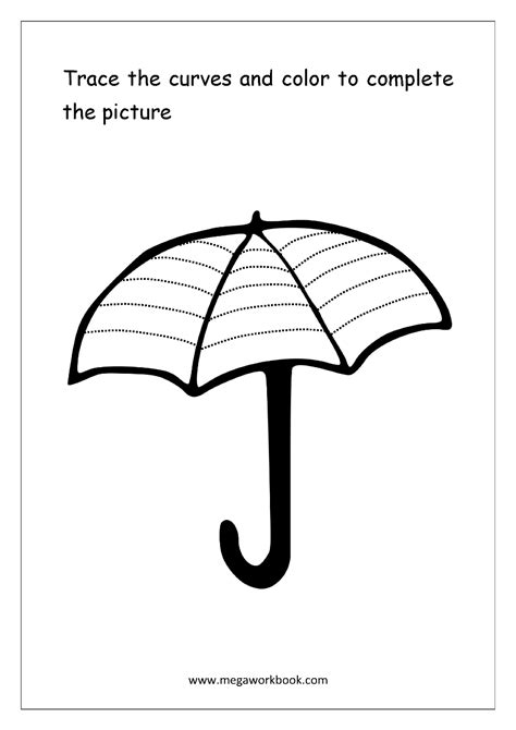 umbrella pattern to trace 100 free coloring sheets miscellaneous megaworkbook