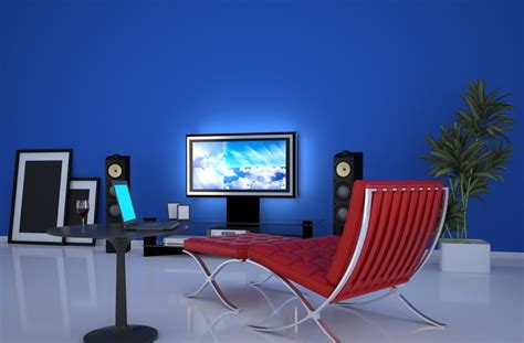 blue wall living room living room blue wall gules sofa collocation rendering