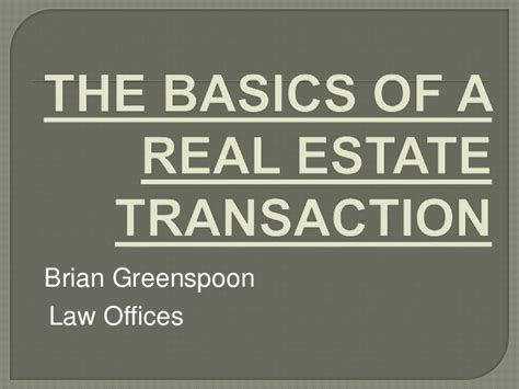 brian greenspoon the basics of a real estate transaction