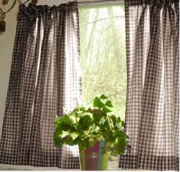 Cafe Kitchen Curtains Brown Gingham Kitchen Caf 233 Curtain Unlined Or With White Or Blackout Lining In Many Custom Lengths