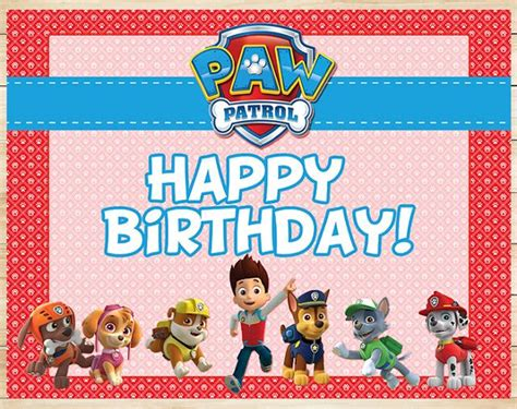 printable birthday card paw patrol 17 best images about paw patrol printables red
