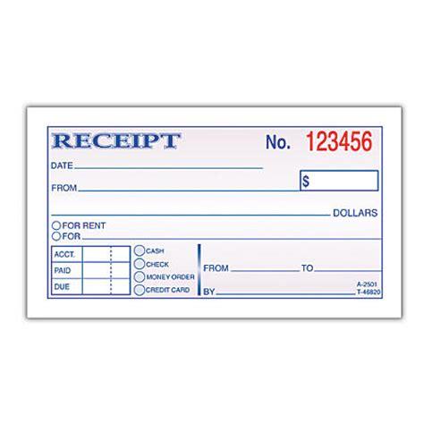moneyrent receipt book 5 38 x 2 34 2 part carbonless