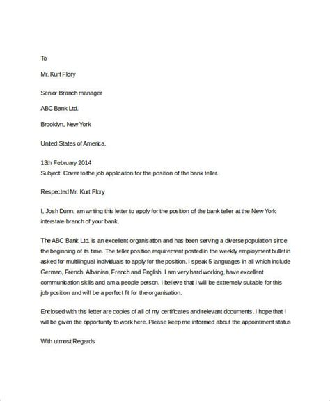 Letter Of Application Sle by Application Letter For In Bank Sle 28 Images Letter Of