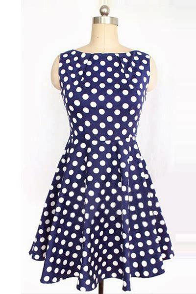 Polkadote Style Blue Orange Mini Dress fashion polka dots o neck tank sleeveless a line blue cotton mini dress on luulla