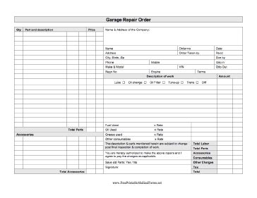 garage repair order template