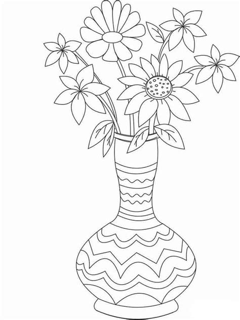 coloring pages of flowers in vases flowers in a vase coloring pages and print