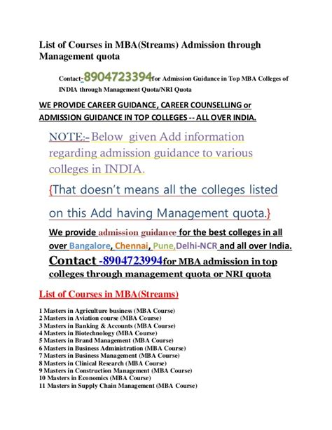 Syllabus Of All Mba Entrance by List Of Courses In Mba 2015 Admission Through Management Quota
