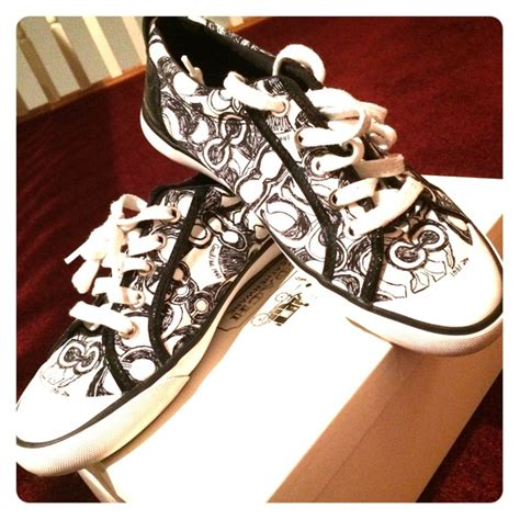 68 coach shoes black and white coach sneakers from