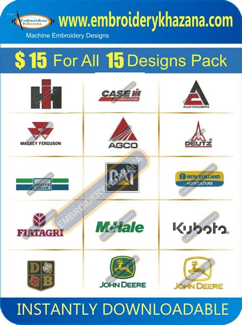 embroidery design companies tractor company logos embroidery designs set 1