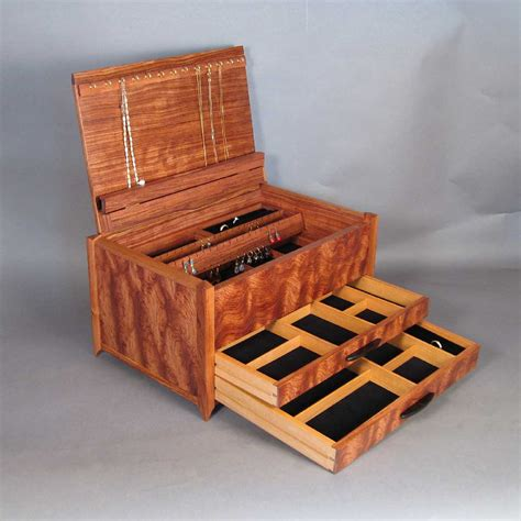 Handcrafted Boxes - bubinga jewelry box with handcrafted details