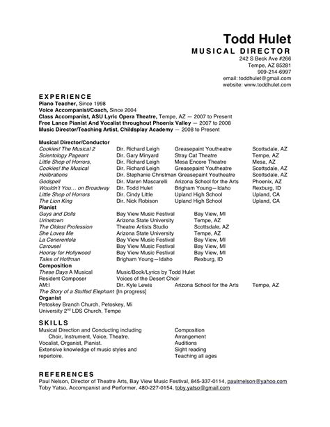 Musician Resume by Resume Format For Musicians Defenddissertation X Fc2