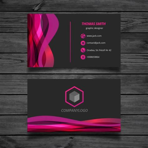business card template wavy wavy pink and black business card vector free