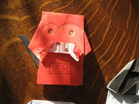 How To Make A Origami Darth Vader Finger Puppet - almost unschoolers darth paper strikes back the return