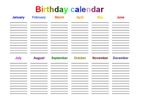 birthday calendar template search results for birthday calendar templates free