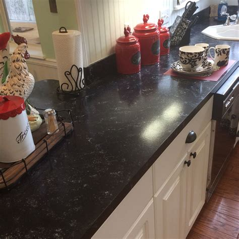 faux granite counters    giani bombay black paint love   diy kitchen