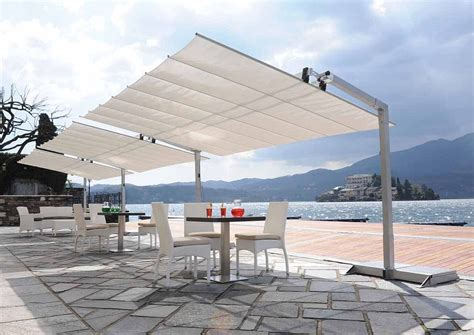 backyard awning flexy series commercial freestanding awning 8ft deep with tilting canopy flexy8