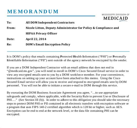 encryption policy template 14 email memo templates free sle exle format