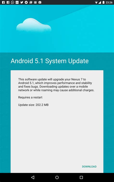 android 5 1 1 update lte equipped nexus 7 2013 razorg finally gets the android 5 1 update