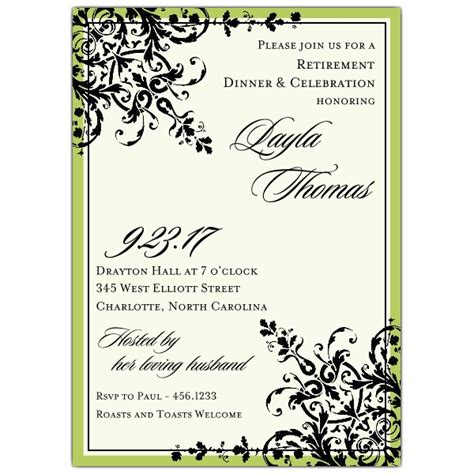 black green ornamental pattern retirement invitations