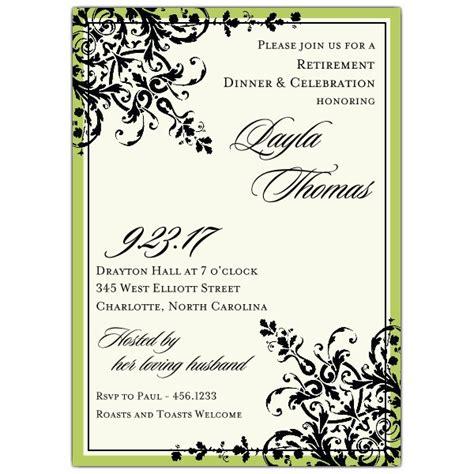 Black Green Ornamental Pattern Retirement Invitations