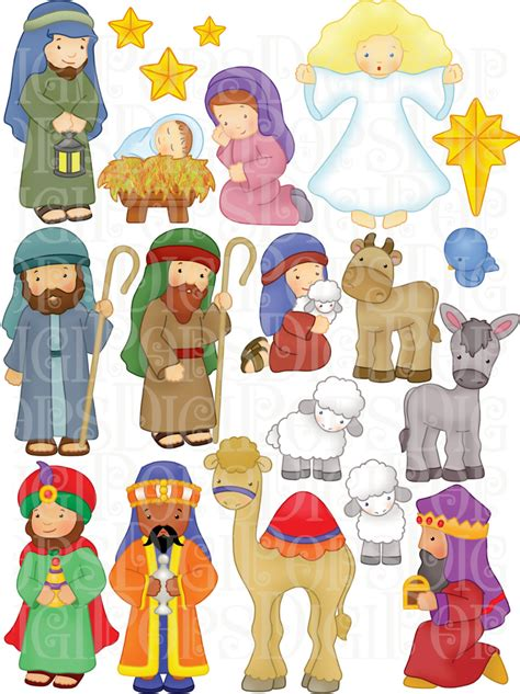 presepe clipart nativity digital clip set personal and commercial
