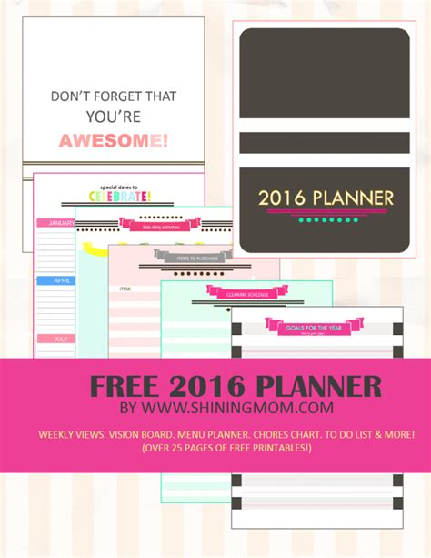 Life Planner Printables Free 2016 | your free 2016 planner chic and stylish