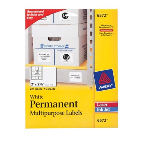 officemax label template avery permanent white id laser labels 2 x 2 625 inch 225