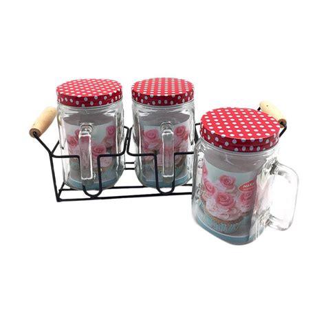 Stok Terbatas Canister Set jual nakami glass canister set merah
