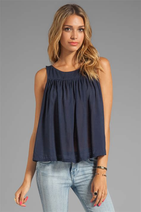 top swing testament pleated swing top in navy in blue lyst