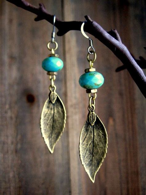 Handmade Jewelry Earrings - rustic turquoise leaf dangle earrings handmade leather