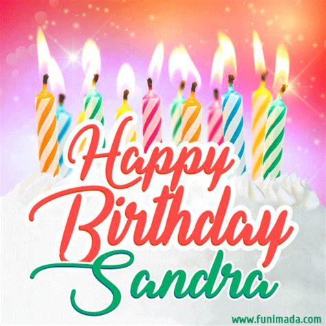 happy birthday gif  sandra  birthday cake  lit candles   funimadacom