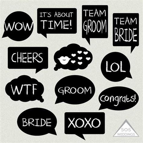 Printable Photo Booth Props Words | word bubble photo booth signs wedding photobooth signs