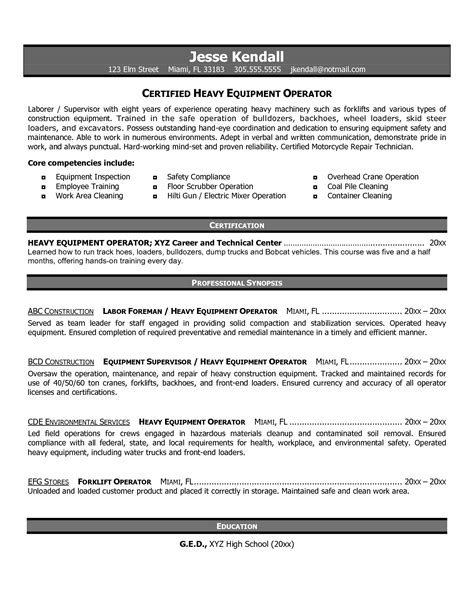 heavy equipment operator resume sles heavy equipment operator resume objective best template