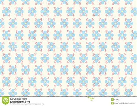 pattern cute blue flower and spiral pattern on pastel color stock vector